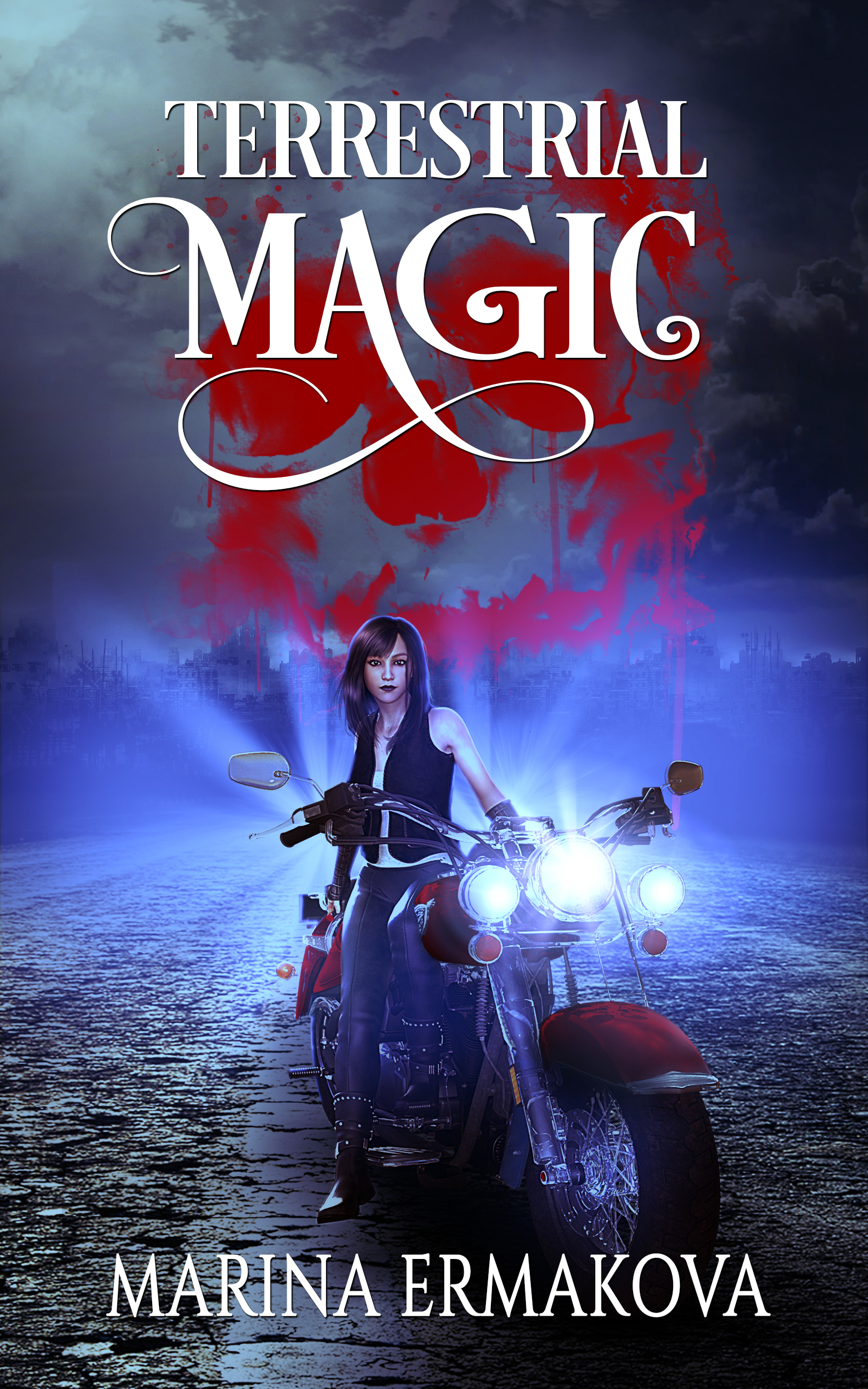 "A woman sits on a motorcycle on a dark, deserted road. The words read ""Terrestrial Magic, Marina Ermakova."""